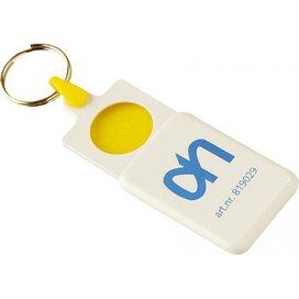 Sleutelhanger met winkelwagenmunt € 0,50 Bilzen geel