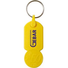 Sleutelhanger met  winkelwagenmuntje € 0,50 Aalst geel - Kunststof sleutelhanger met winkelwagenmuntje € 0,50, verkrijgbaar in verschillende kleuren: donkerblauw, donkergroen, oranje, geel, rood en wit.