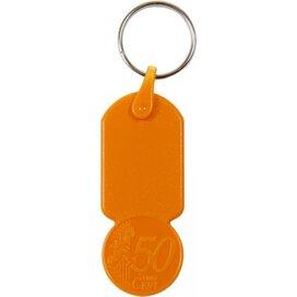 Sleutelhanger met  winkelwagenmuntje € 0,50 Aalst oranje