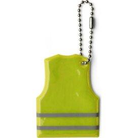 Reflecterende sleutelhanger Mesa geel - Sleutelhanger met ketting. Is reflecterend aan beide zijnde en is voorzien van 2 strepen en heeft de vorm van een shirt.