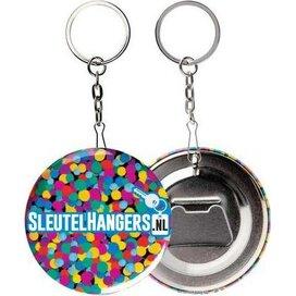 Buttonopener Zilver - Button met flesopener aan sleutelhanger. Incl. (full colour) opdruk.