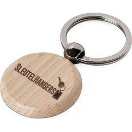 Woodkey Circle Hout - Ronde, beukenhouten sleutelhanger aan stevige sleutelring.
