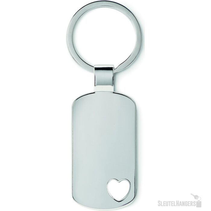 Metalen sleutelhanger, hartje Corazon mat zilver