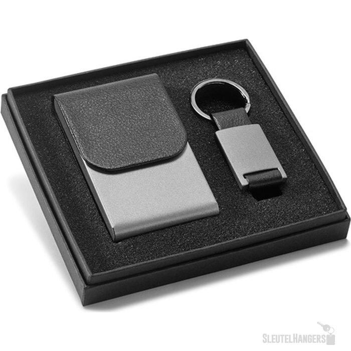 Visitekaarthouder En Sleutelhanger Set Zwart