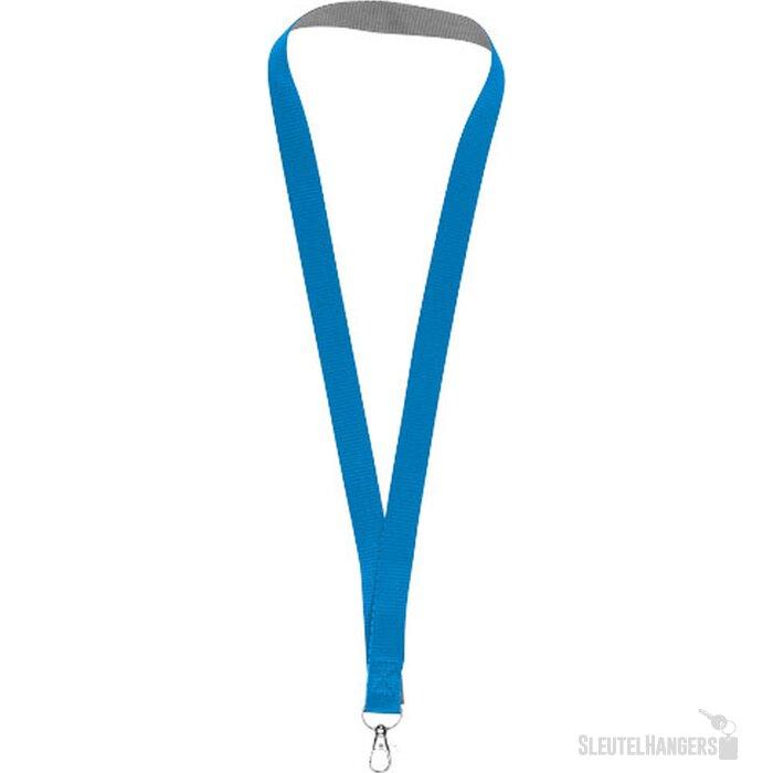 Aru tweekleurige lanyard met klittebandsluiting koningsblauw
