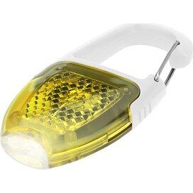 Reflector sleutelhanger lampje met karabijnhaak Wit,geel