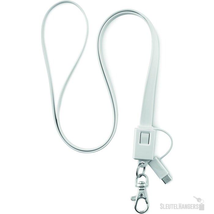 Lanyard met USB Necklet Wit