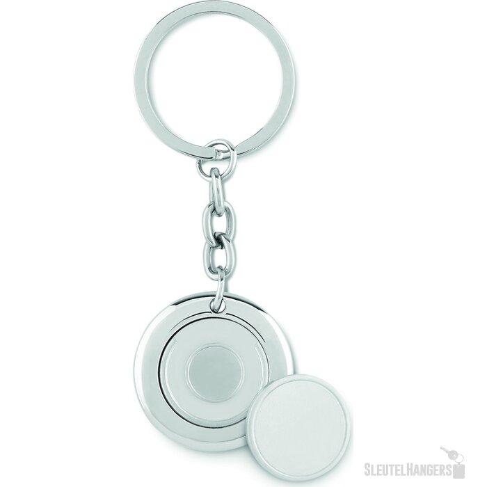 Sleutelhanger Flat ring glanzend zilver