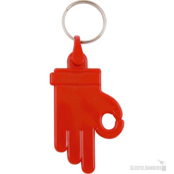 Kunststof sleutelhanger OK Hand rood