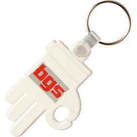 Kunststof sleutelhanger OK Hand wit