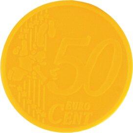 Sleutelhanger winkelwagenmunt met € 0,50 muntje geel