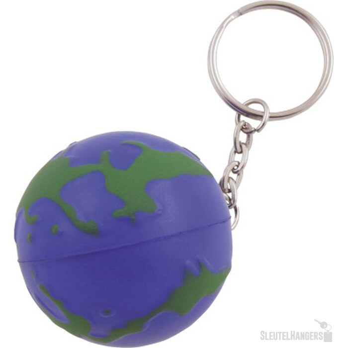 Anti-stress Wereldbol met sleutelhanger donkerblauw