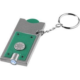 Allegro sleutelhanger met munthouder en lampje Groen,Zilver