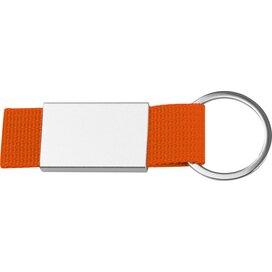 Sleutelhanger van stof en metaal oranje