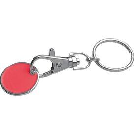 Sleutelhanger met muntje rood