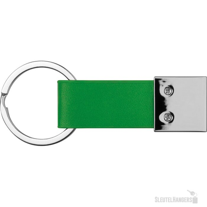 Sleutelhanger met kunstlederen bandje groen