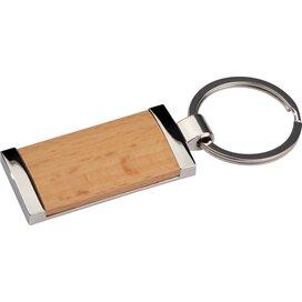 sleutelhanger metaal met bamboe bruin