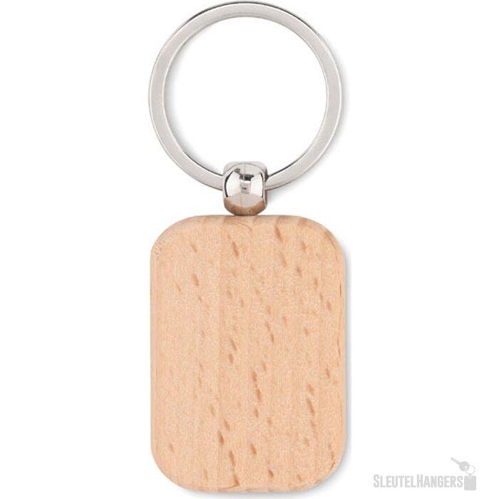 Houten sleutelhanger rechthoek Poty wood hout