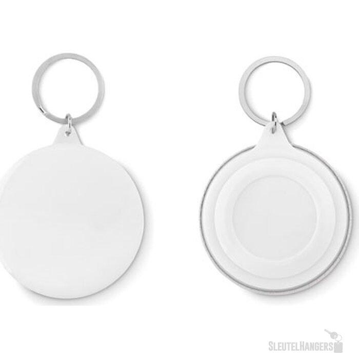 Sleutelhanger, metaal Pin ring wit