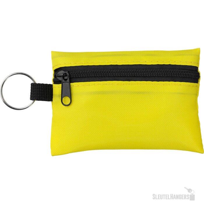 Valdemar 16-delig EHBO-etui met sleutelring geel