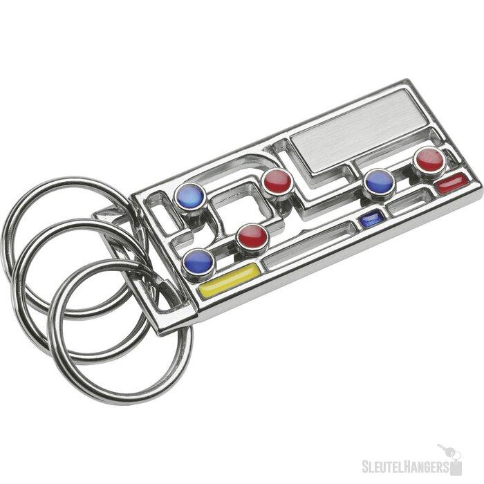 Sleutelhanger Bebington blauw, geel, rood, zilver